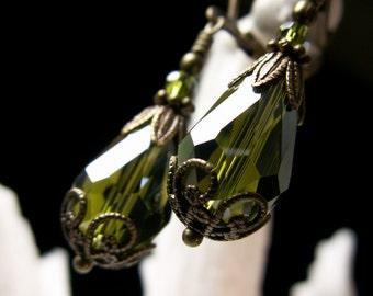 Moss Green Teardrop Victorian Earrings, Olive Crystal Dangle Vintage Bridal Style Drops, Antiqued Brass Filigree Titanic Temptations Jewelry