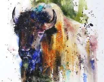 BUFFALO Watercolor Nature Art Print by Dean Crouser