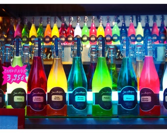 Rainbow Bottles - glass bottles photograph, colorful fancy French drinks, home decor - 8x12 and up - Original Fine Art Photograph
