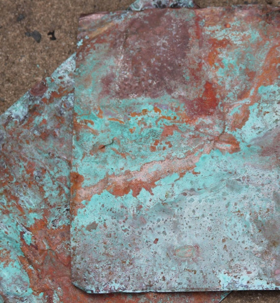 8x10 Copper Sheeting Wonderful Green Blue Patinacopper