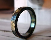 Rustic Man Wedding Band Artisan Man Wedding Ring Oxidized Sterling Silver Commitment Ring 4mm Width Unique Wedding Band Black Gold Ring
