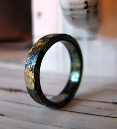 Rustic Mens Wedding Band Mens Wedding Ring Oxidized Sterling