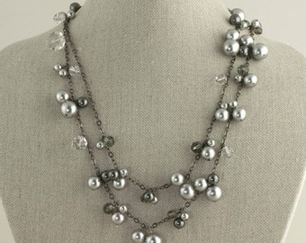 Flapper Necklace Pearl Crystal Gray Black Long