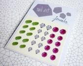 Jewel Nail Decals / Nail Art - Diamond, Ruby, Emerald