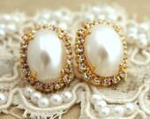 Pearl Earrings,Bridal Pearl Earrings,Bridesmaids Pearl Earrings,Bridesmaids Gifts,Swarovski Pearl Crystal Earrings,Gold Pearl Stud Earrings