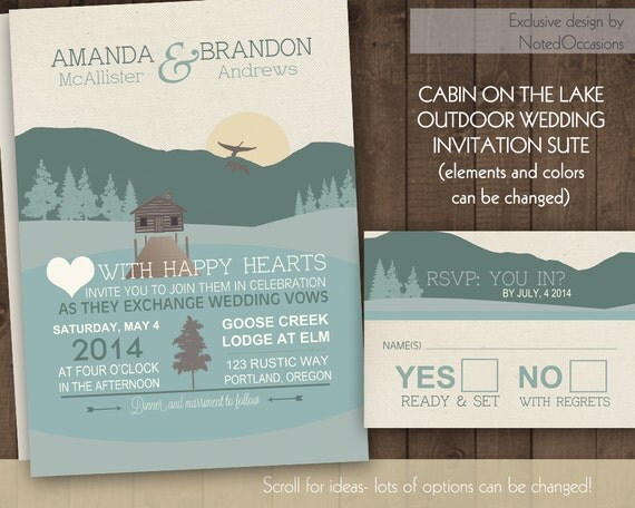 Camping Wedding Invitations: Mountain Wedding Invitations Rustic Outdoor By NotedOccasions