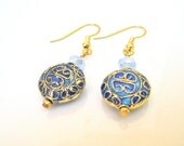 Vintage Inspired Earrings, Art Nouveau Style, Short Dangle, Cloisonne And Crystals, Light And Dark Blues