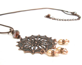 "Copper Rossette Necklace With Pearls And Crystals, Boho Style Necklace, Vintage Inspired, High Fashion Style, ""Feminine Fashion Sense"""