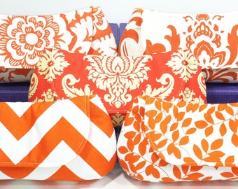 Bridesmaids Clutches Orange Choose Your Fabric Set of 4