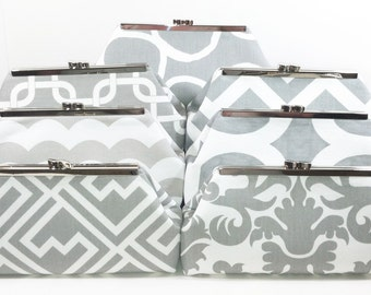 Bridesmaids Clutches, Wedding Clutch, Bridal Clutch - Choose Your Fabric Grey White Set of 7