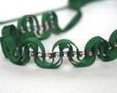Green necklace: Grosgrain ribbon and glass beads in forest green.