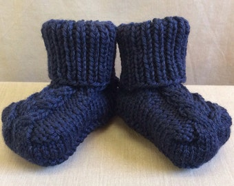 Knitted Baby Booties - Newborn Size - Navy