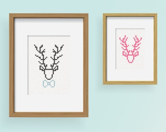 DIY The Deers / embroidery Cross Stitch .pdf / Instant Download