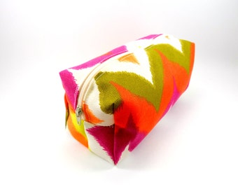Bright Chevron Makeup Bag, Cosmetics,  Pencil Case, Under 15, Gadgets Case, On the Go or Travel, Large