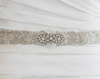 CARI DELUX beaded wedding belt, crystal bridal sash, rhinestone beaded belt, Art Deco wedding sash, crystal wedding sash, beaded wedding