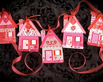 Love Shacks--Paper House Ornaments Garland for Valentines
