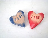 Custom heart brooch / pin / button / badge. Ceramic. Made in Wales, UK