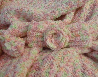 Pastel Colored Crochet Baby Blanket Ensemble Newborn size