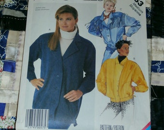 1986 McCalls Pattern 2763 for Misses Unlined Jacket Size Medium Uncut