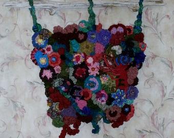 Sumptuous Summer Freeform Knit Crochet Wall Hanging, Driftwood OOAK