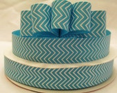 5 Yds. WHOLESALE 7/8 Inch Blue & White Chevron grosgrain ribbon LOW SHIPPING Cost