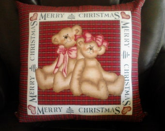 QUILTED PILLOW COVER Christmas Teddy Bear on Plaid 17 inches square