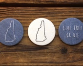New Hampshire - Recycled Fabric Magnets - Set of 3 - Blue NH