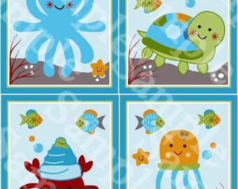 "Set of 4 Unframed ""Ocean Dreams/Sealife/Octopus/Turtle"" 8x10 inch Linen Look Nursery Wall Art Prints Baby Children Kids Decor"