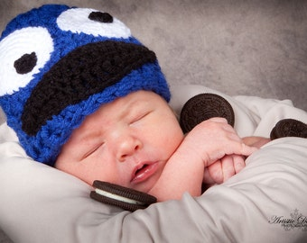 Cookie Monster Infant Hat or American Girl-type doll hat (size Newborn, 0-3 months or 3-6 months)