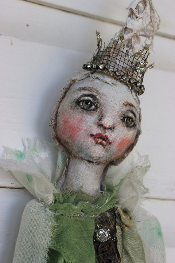 Original Textile Fiber Wall Ooak Art Doll Vidalia Onion