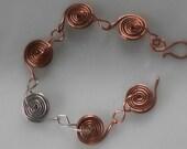 Copper and Silver Spiral Bracelet, Snail Link Bracelet, Fine Jewelry Bracelet