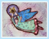 childrens angel wall art - unique - mixed media collage