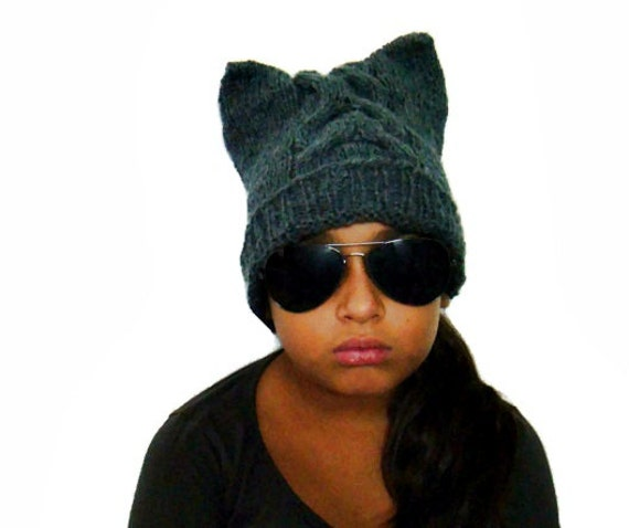 Knit Cat Ear Hat Pattern, Anymal Beanie, Cabled Slouchy Hat, Hat Knitting Pattern