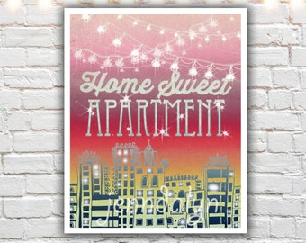 home sweet apartment - prints - first apartment decor - college apartment decorations