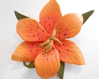 "Vintage brooch, orange leather floral brooch, Impatiens flower brooch, signed ""RB Canada"" brooch"