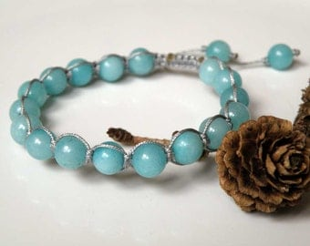 Amazonite gemstone bracelet - macrame - silver colored cord - macrame - 8 mm round beads - Tibetan style pull out closing - Tribal Jewelry