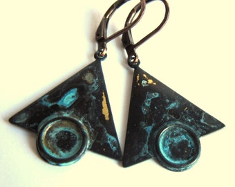 Verdigris Patina Earrings Turquoise Art Deco Triangle Fashion Jewelry