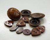 Brown buttons small assorted vintage and new - some beads