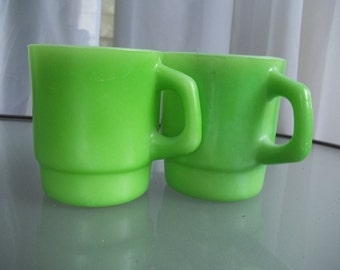 Fire-ware Anchor Hocking Coffee Mugs in Cool Green, Vintage Serving, Coffee Cups, Kitchen, Diner Style