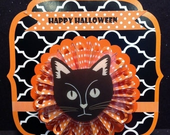 Halloween Card, Black Cat, Rosette