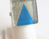 Silver Glitter and Sky Blue Geometric Apex Nail Polish Ring, Tiny Hand Painted Arrow Triangle Point, Pop of Color Ring - Wedding Jewelry