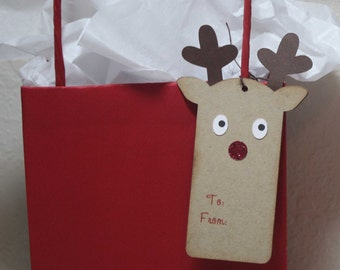 Reindeer gift tags - Christmas gift tags, Rudolph tags, custom wording option, set of 6