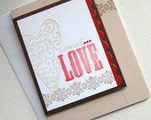sweet love collage valentine card in brown tan and red