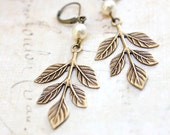 Branch Earrings Woodland Jewellery Nature Inspired Antique Gold Brass Rustic Leaf Dangle Earrings Cream Pearl Drop Winter Wedding
