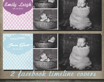 boy girl announcement polka dot Facebook Collage Timeline Cover Photographer Photography Template PSD - Photo INSTANT DOWNLOAD