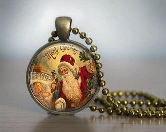 Christmas Necklace Christmas Jewelry Santa Necklace Glass Tile Necklace Glass Tile Jewelry Holiday Necklace Holiday Jewelry Vintage Santa