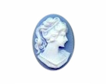 18x13 RIGHT Facing Blue & White Ponytail Girl Cameo resin cabochon victorian style jewelry findings 639r