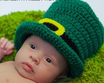 LEPRECHAUN TOP HAT St Patrick's Day Crochet Hat Baby Newborn 0 3 6 12 Months 1T 2T 3T 4T Child Teen Adult