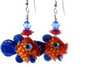 Fish Earrings, Lampwork Earrings, Glass Bead Jewelry, Blue Red Unique Earrings, Animal Earrings, Glass Bead Earrings, Lampwork Jewelry
