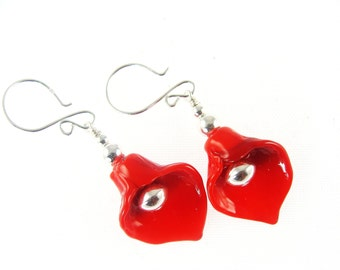 Calla Lily Earrings, Red Lampwork Earrings, Flower Earrings, Glass Bead Jewelry, Lampwork Jewelry, Glass Bead Earrings, Beadwork Earrings